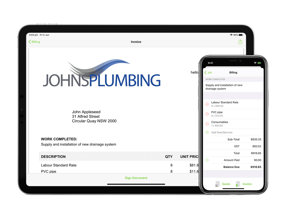 iPad-Pro-11-and-iPhone-11-Pro-invoicing-